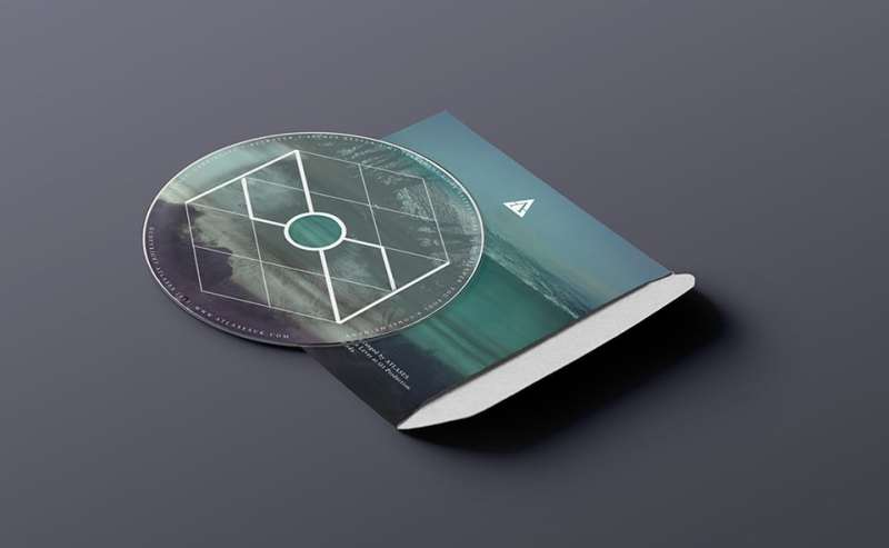 CD back graphic design from Newbury, Berkshire based band atlases with layered artwork promoting the lyrical content