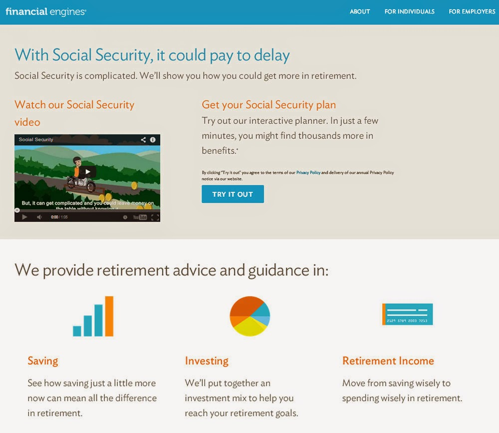 Financial Engines retirement planner.