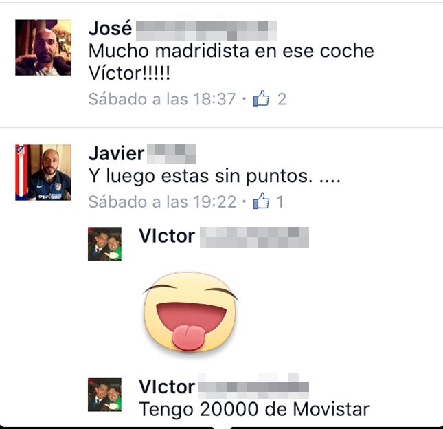 """""""Tengo 20.000 puntos..."""". Así respondía Víctor a un amigo en Facebook comentando una foto en la que, camino de la Champions en Milán, va al volante de un coche. Al recordarle el amigo que no tiene puntos, él bromea: """"Tengo 20.000 de Movistar""""."""