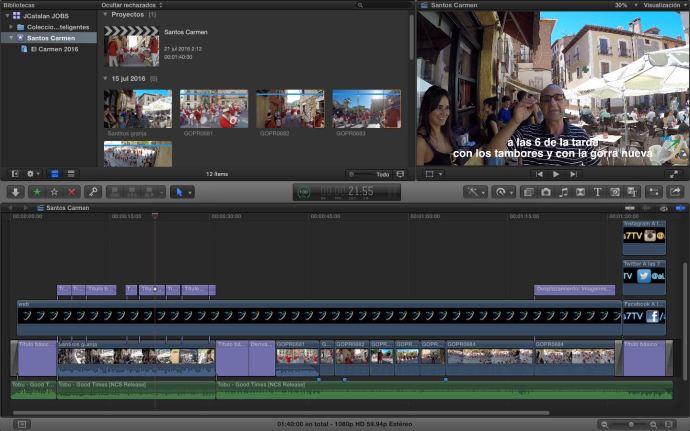 El vídeo en el programa de edición. Click para ampliar.