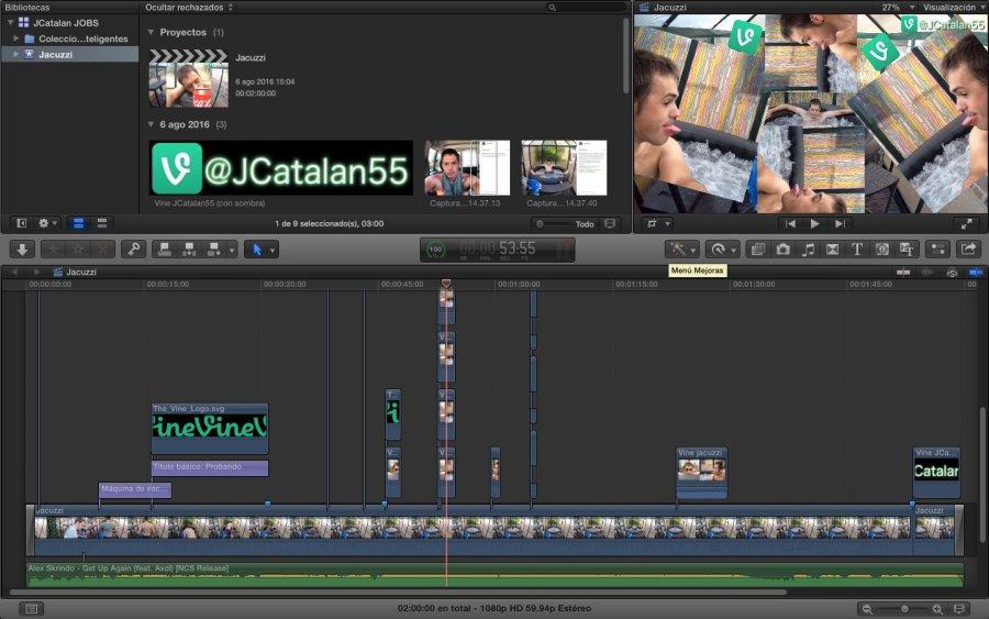 El vídeo en FCPX. En la captura nos e ve porque no sale todo, pero tiene 10 u 11 niveles de altura (Click para ampliar)