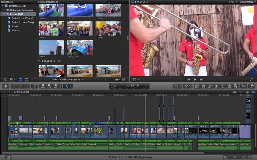 Como siempre, este es el vídeo dentro de FCPX. Pinchar para ampliar.