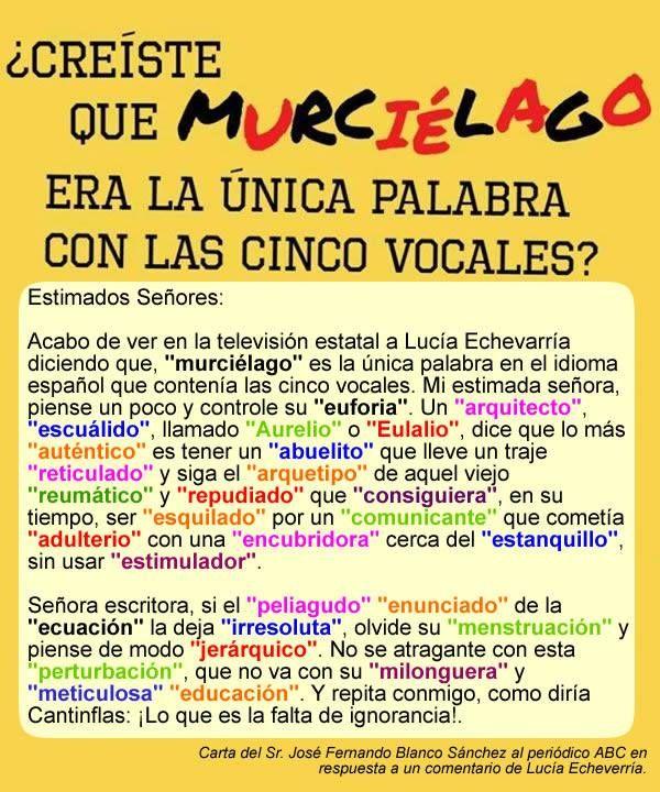 Palabras en español con las 5 vocales