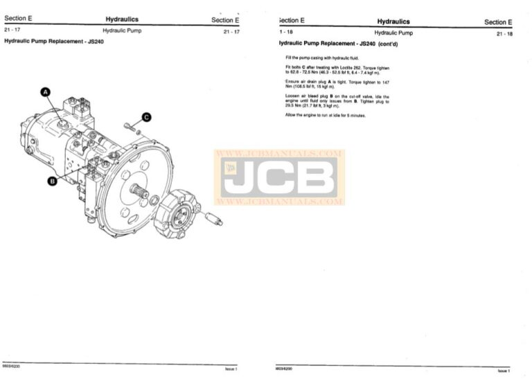 JCB JS200LC, JS240LC, JS300LC, JS450LC Excavator Service