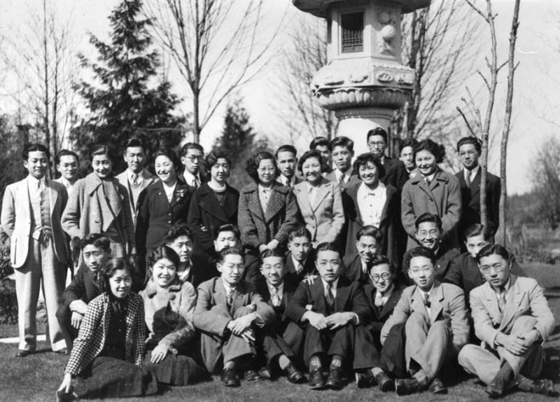 NNM 2001-4-4-5-51 UBC Students Club 1937, from left front row: Irene Uchida, Kim Takahashi, Kiyo Momose, Albert Takimoto (vet), Roger Obata (vet), Tom Shoyama (vet), Bill Iwasaki, George Takami. Second row: Wes Fujiwara, Kunio Hidaka, Kiyo Mimose, Ted Nishi, Yosh Hyodo (vet), Henry Ide, Tsugio Kondo. Back row: Harry Kameda, Ken Kitamura, Kiyoko Yoshida, Shaw Mizuhara, Frances Takimoto, Kasey Oyama, Cana Okamura, Naiko Muraki, Tats Sanmiya, Misao Yoneyama, Shuichi Kusaka, Yoshimitsu Higashi, Mariko Uyede, Eiji Yatabe (vet), Kunio Shimizu, Yoshiko Momose.