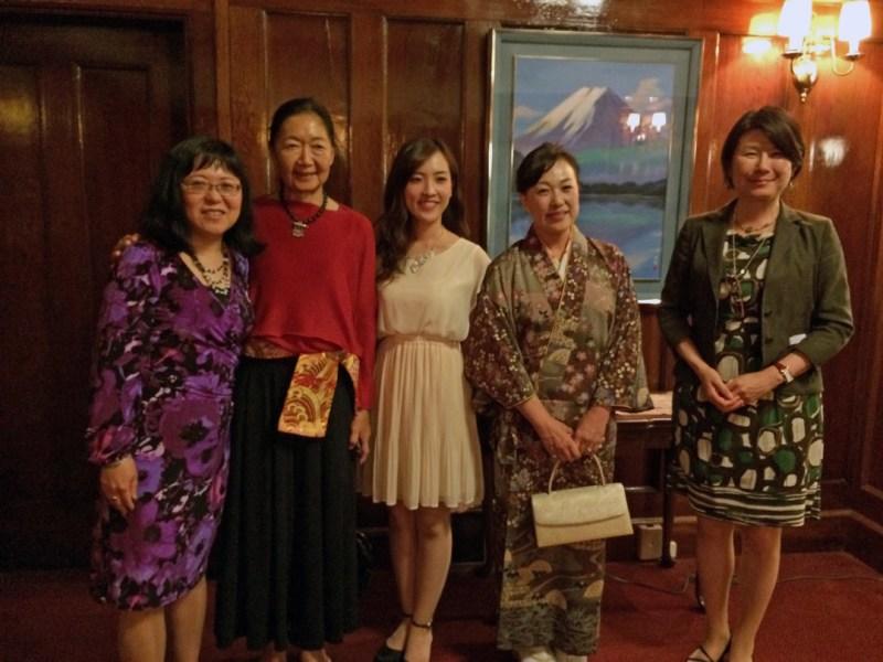 GVJCCA President Lorene Oikawa celebrating the Vancouver International Film Festival premiere of A New Moon Over Tohoku, with filmmaker Linda Ohama, Sera Sasaki (Tokyo), Kanako Sasaki (Otsuchi, Iwate), and Consul General Asako Okai (right).