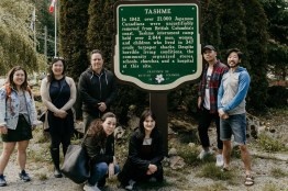 A small group of ensoku participants visit Tashme internment camp on Wednesday, May 22.