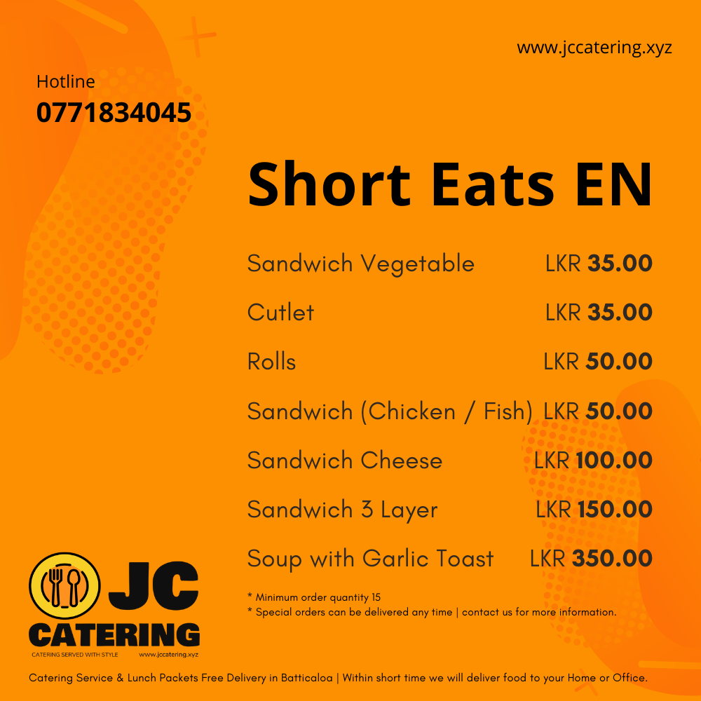 Best Food Delivery Batticaloa, Food Delivery Batticaloa, Batticaloa, Batticaloa Food delivery, JC Catering Services Batticaloa, Good Review Catering, Best Catering Batticaloa, Best Food Delivery Batticaloa, Best Food Batticaloa, Batticaloa Food, Batticaloa Best Food, Food Delivery Near Batticaloa, Food Delivery Near Me, Affordable Food Delivery, Affordable Food, Tasty Food Batticaloa, Batticaloa Food Shop, Online Order Food Shop