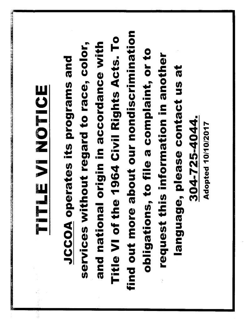 Title VI Notice : JCCOA Anna Mae Reedy Senior Center
