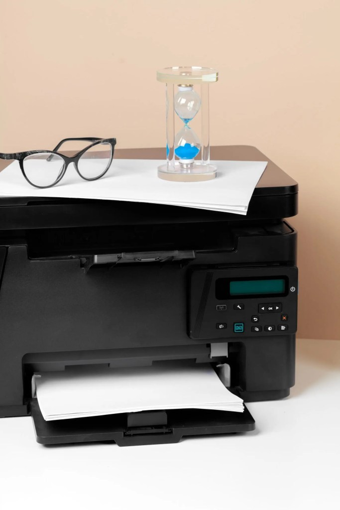 printer and an egg timer