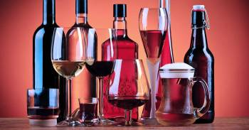 A selection of different types of alcoholic drink