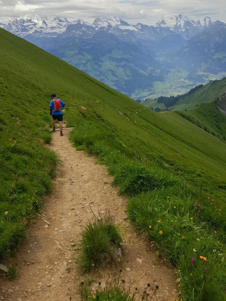 Swiss Alps - lowering of niesen to frutigen