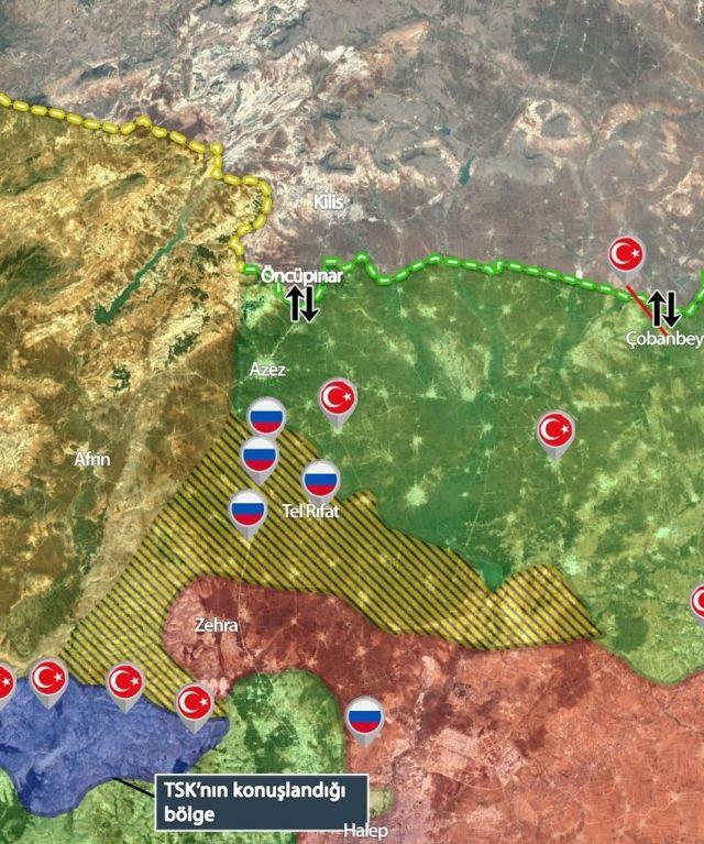 מפה עדכנית של הכוחות בגבול סוריה טורקיה