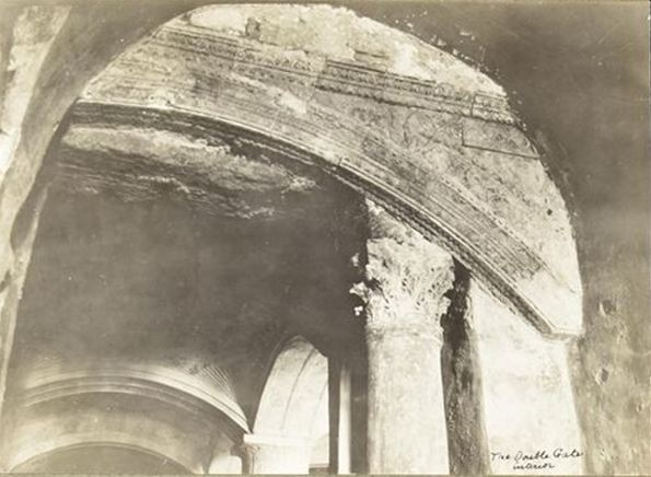 "From the IAA Hamilton collection. Inside the ""Double Gate"" of the southern wall of the Temple Mount. It is clearly the same arch in the picture taken by the American Colony photographer."