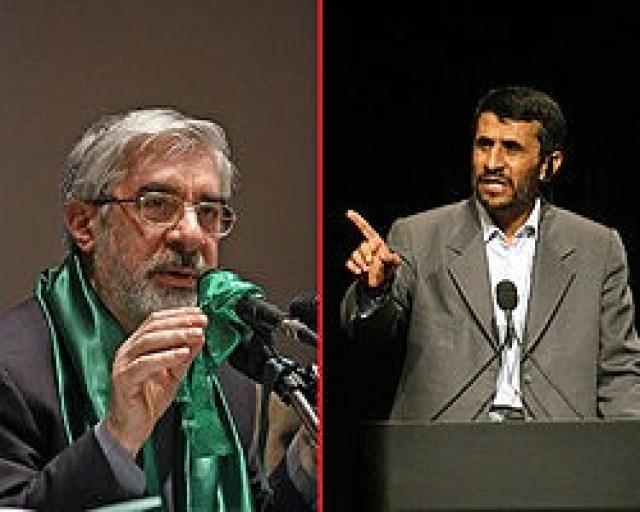 המנהיג התעלם ב-2009 ממחאות העם מוסוי (שמאל) והעדיף לאשר את נשיאותו של אחמדינג'אד