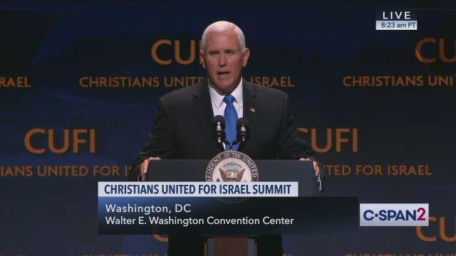 """סגן נשיא ארה""""ב, מייק פנס בכנס CUFI"""