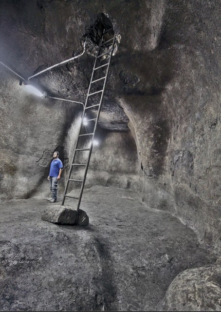 The underground reservoir dating back to the First Temple in Jerusalem found on the edge of the Temple Mount. (Israel Antiquities Authority, Vladimir Neychin)