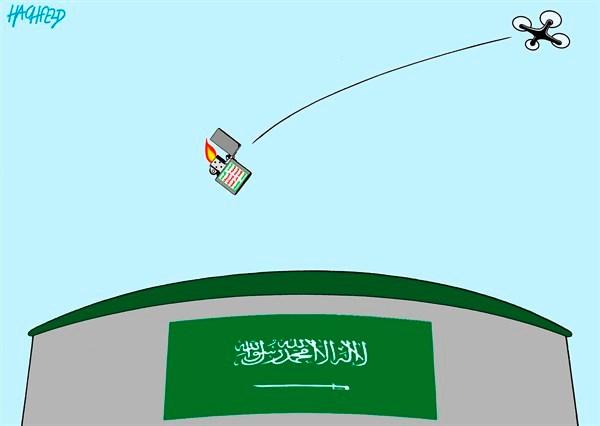 רוחאני במסר מפייס? איום של איראן על התקפה נוספת על שדות הנפט של סעודיה // SAUDI-ARABIA-Rainer-Hachfeld-Germany-PoliticalCartoons.com-