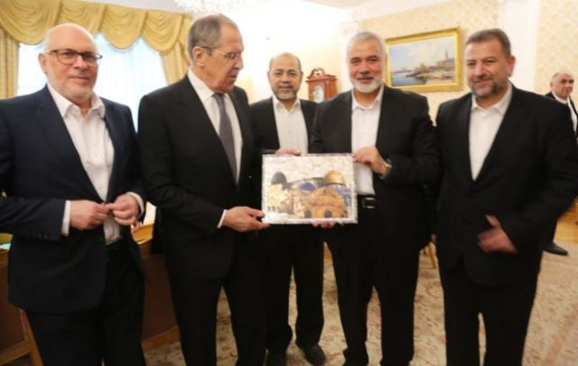 פגישת שר החוץ הרוסי לברוב עם מנהיג חמאס הנייה