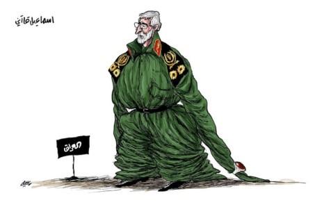 """(קריקטורה בעיתון הבינערבי, הפרו-סעודי, אלשרק אלאוסט"""" קאא'ני לא נכנס לנעליו ולטבעתו של סלימאני)."""