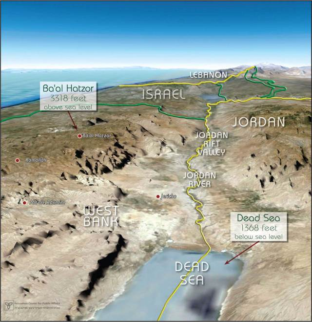 Map 5 – Israel's Defense Line: The Jordan Rift Valley with the Steep Eastern Slopes of the West Bank Mountain Ridge