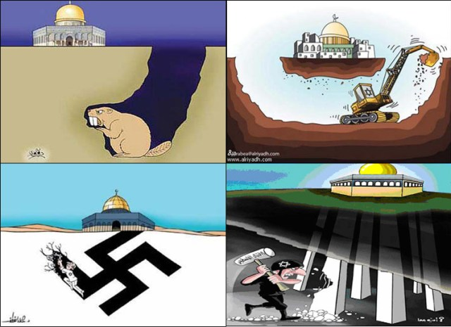 A sample of cartoons published in Arab newspapers. Clockwise from top-left: Ad-Dustur (Jordan), Ar-Riyadh (Saudi Arabia), Al Hayat (PA), Falestin (Hamas)