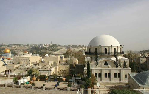 The Hurva Synagogue (on the right) is higher than the Temple Mount mosques and hundreds of meters away. Its restoration never threatened the stability of the mosques. The Hurva was renovated and reinaugurated in 2010, after the Jordanians had blown it up in 1948. (Western Wall Heritage Foundation)
