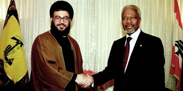 UN Secretary General Kofi Annan with Hizbullah leader Sheikh Hassan Nasrallah in Lebanon, June 20,2000. The meeting enhanced the political legitimacy of Hizbullah, an international terrorist organization.