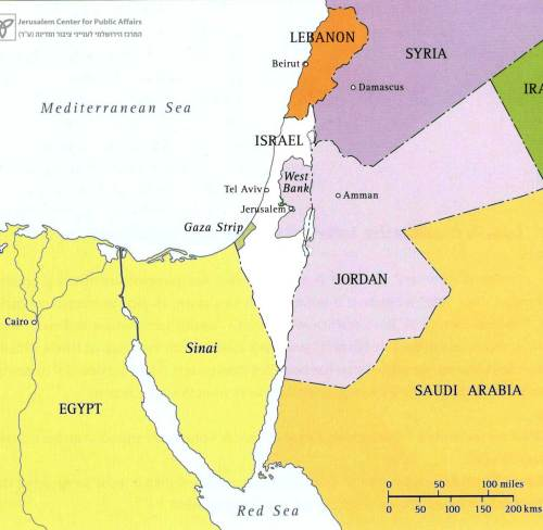 Map 2 – Israel within the 1949 Armistice Lines (pre-67 lines)