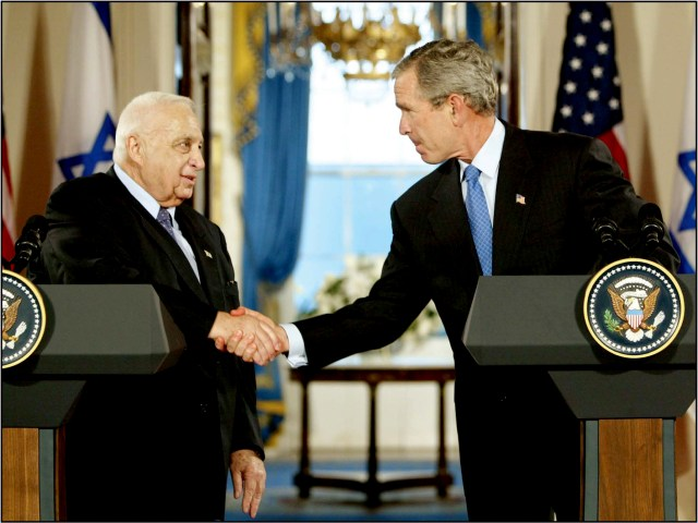 President George W. Bush and Israeli Prime Minister Ariel Sharon at the White House, June 14, 2004. Sharon exchanged letters with Bush in which Israel committed to withdraw from Gaza and the United States endorsed defensible borders for Israel.