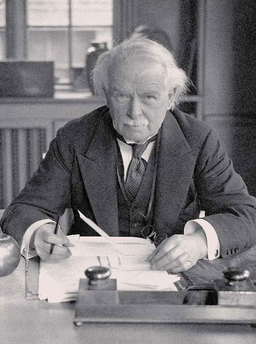 "Former British Prime Minister David Lloyd George, January 16, 1943 (AP Photo) - ""An Overwhelmingly Jewish State"""