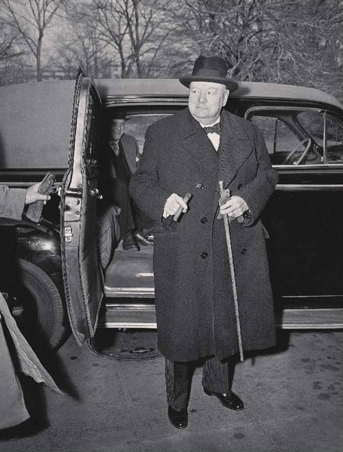 "Winston Churchill, Britain's wartime prime minister, arrives at the White House in Washington on March 11, 1946. (AP Photo/William J. Smith) - ""An Overwhelmingly Jewish State"""