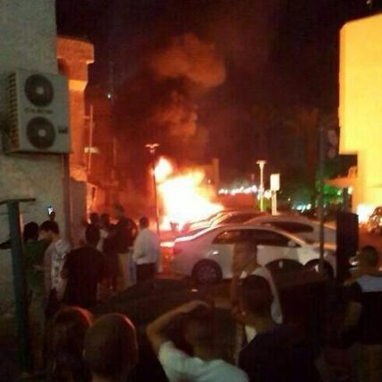 A fire in Eilat in the aftermath of a Hamas rocket attack from the Gaza Strip on July 15, 2014. (IDF/Twitter)