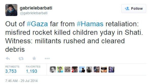 Screenshot of tweet by Italian journalist Gabriele Barbati on July 23, 2014.