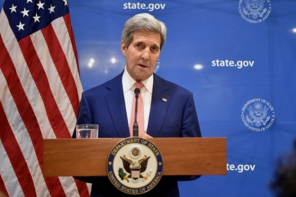 At a news conference in India on August 1, 2014, U.S. Secretary of State John Kerry announces a UN-backed, 72-hour ceasefire in fighting between Israel and Hamas in the Gaza Strip. (State Department/Flickr)
