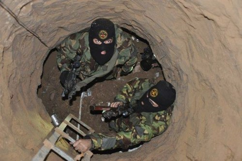 Terrorists prepare to emerge from a tunnel, 2014.