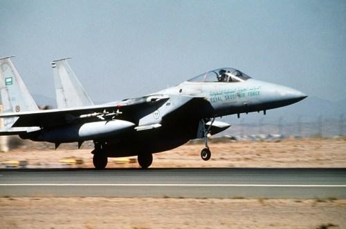 A Saudi F-15 fighter aircraft