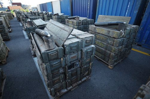 On November 4, 2009 the Israeli Navy seized the MV Francop cargo ship in the eastern Mediterranean Sea along with its 320-ton cargo of weapons allegedly bound from Iran to Hizbullah. (Photo credit: IDF Spokesman)