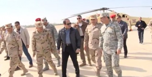 President Sisi visiting troops in north Sinai