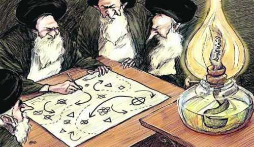 "Iranian leaders plan while the wick (the ""Middle East"") burns. (Credit: Asharq Al-Awsat, London)"