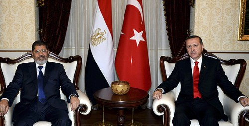 Turkey's Erdogan (right) with former Egyptian President Morsi