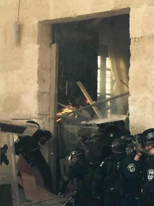 Israel Police attempting to restore order on the Temple Mount, September 13, 2015 (Police Spokesman's office)