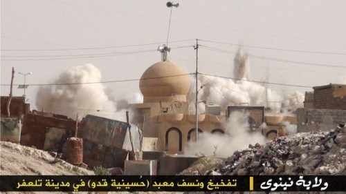 Destruction of a mosque in Mosul by ISIS (Iraqi News)