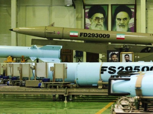 Photo released in 2014 by the Iranian Defense Ministry, purports to show Fateh-110 missiles
