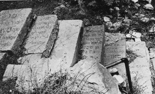 Desecrated graves on Mount of Olives cemetery