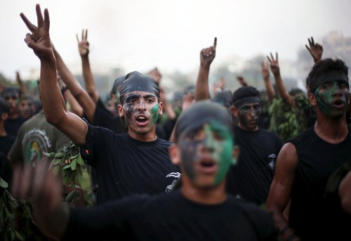 Palestinian youths at the Gaza City Hamas military camp. (Reuters)