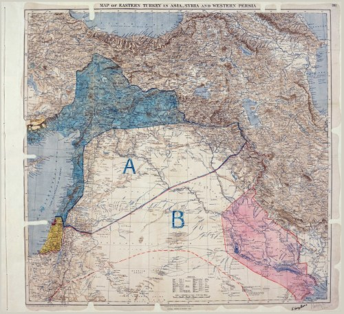 The original Sykes-Picot map with their signatures, bottom right.