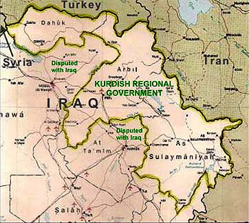 Map of the Kurdistan Region of Iraq