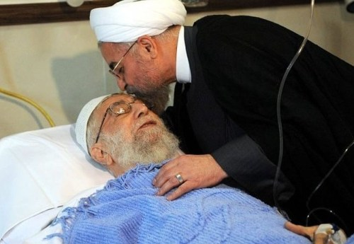 Iran's President Hassan Rouhani visited Ayatollah Khamenei in hospital after his 2014 surgery