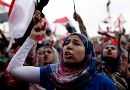Egyptian protesters during the Arab Spring.